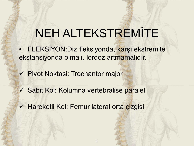 NEH ALTEKSTREMİTE FLEKSİYON:Diz fleksiyonda, karşı ekstremite