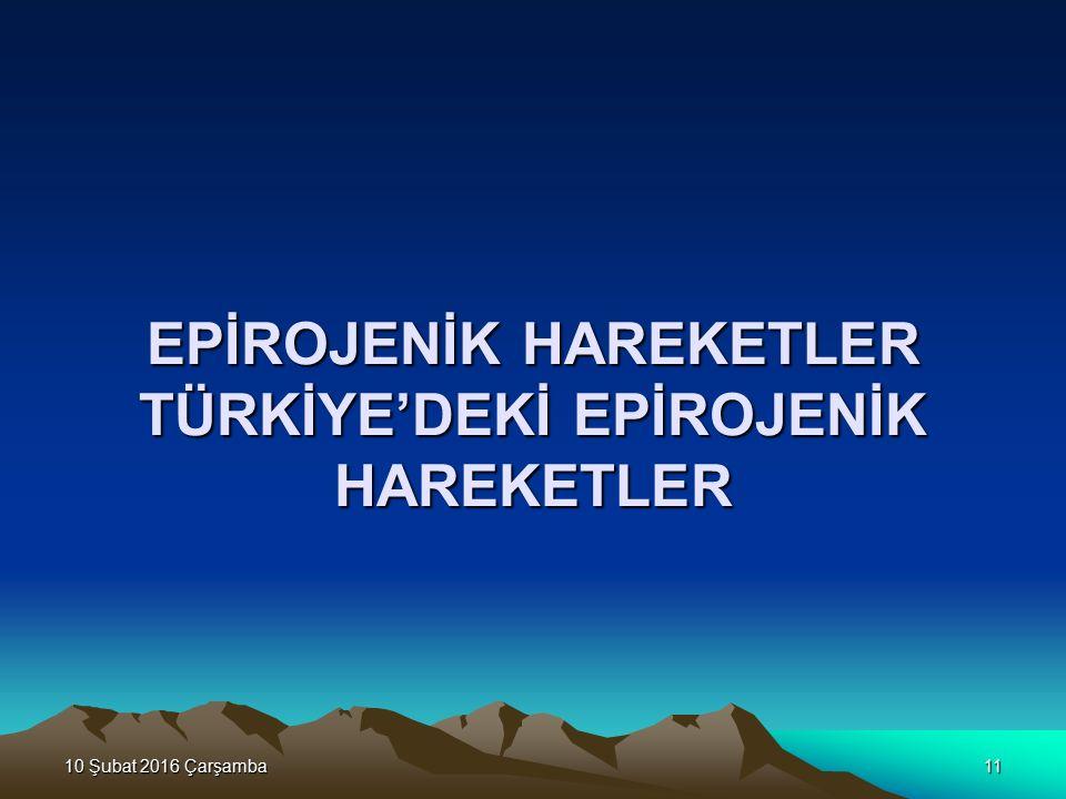 EPİROJENİK HAREKETLER TÜRKİYE'DEKİ EPİROJENİK HAREKETLER