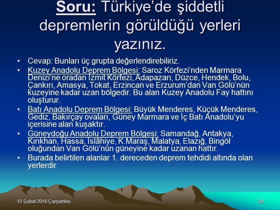 Soru: Türkiye'de şiddetli depremlerin görüldüğü yerleri yazınız.