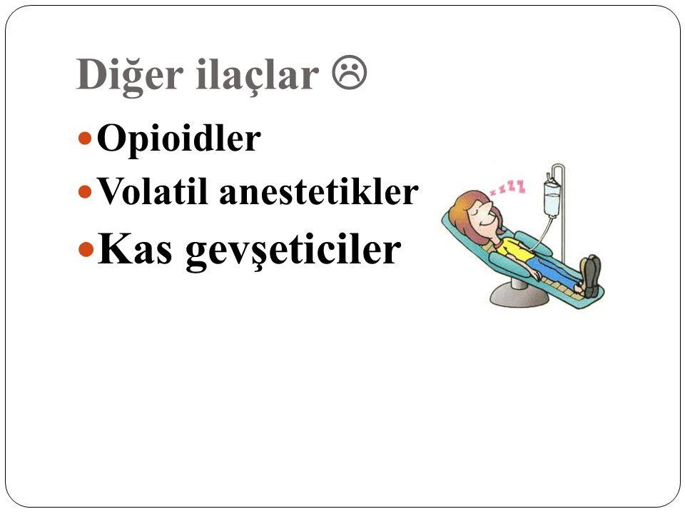 Diğer ilaçlar  Opioidler Volatil anestetikler Kas gevşeticiler