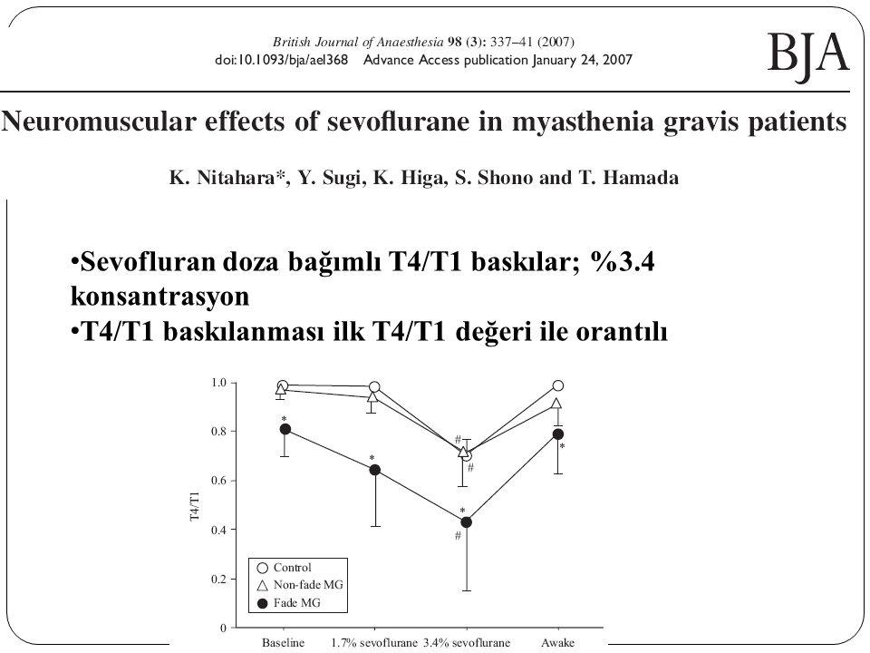 Sevofluran doza bağımlı T4/T1 baskılar; %3.4 konsantrasyon