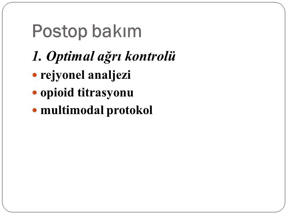 Postop bakım 1. Optimal ağrı kontrolü rejyonel analjezi