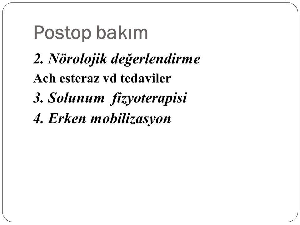 Postop bakım 2. Nörolojik değerlendirme 3. Solunum fizyoterapisi