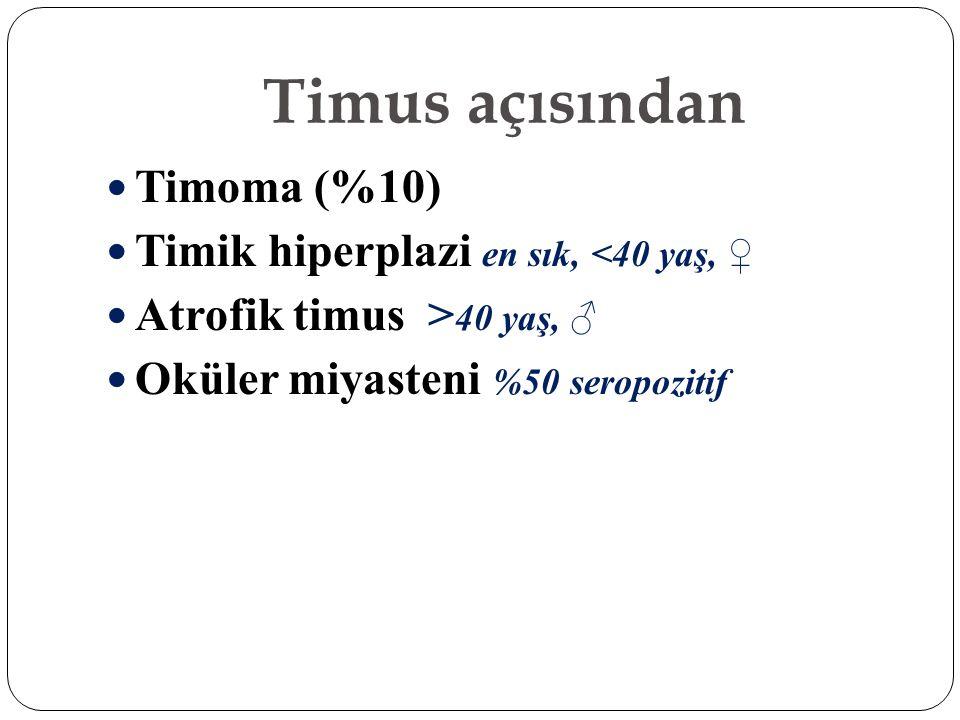 Timus açısından Timoma (%10) Timik hiperplazi en sık, <40 yaş, ♀