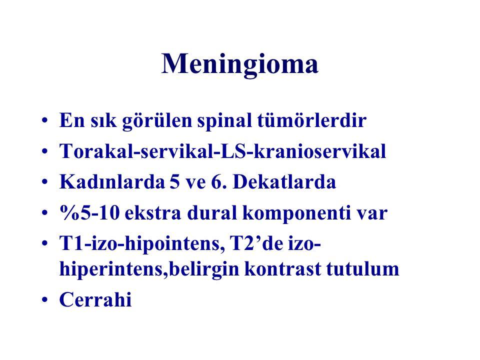 Meningioma En sık görülen spinal tümörlerdir