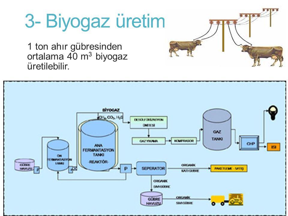 3- Biyogaz üretimi 1 ton ahır gübresinden ortalama 40 m3 biyogaz üretilebilir.