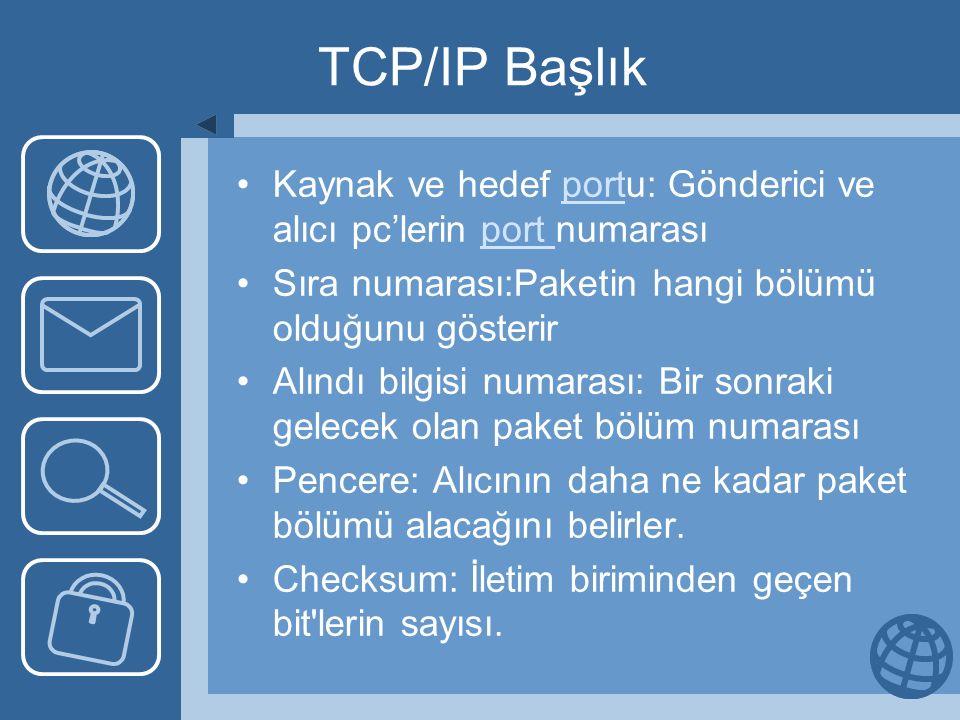 TCP/IP Başlık Kaynak ve hedef portu: Gönderici ve alıcı pc'lerin port numarası. Sıra numarası:Paketin hangi bölümü olduğunu gösterir.