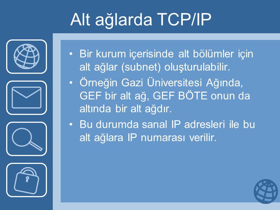 Alt ağlarda TCP/IP Bir kurum içerisinde alt bölümler için alt ağlar (subnet) oluşturulabilir.