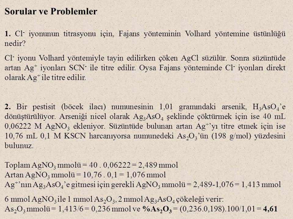 Sorular ve Problemler 1. Cl- iyonunun titrasyonu için, Fajans yönteminin Volhard yöntemine üstünlüğü nedir