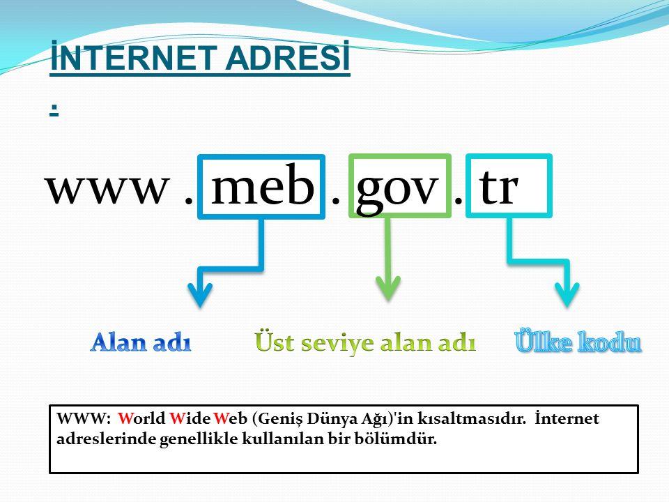 www . meb . gov . tr İNTERNET ADRESİ .
