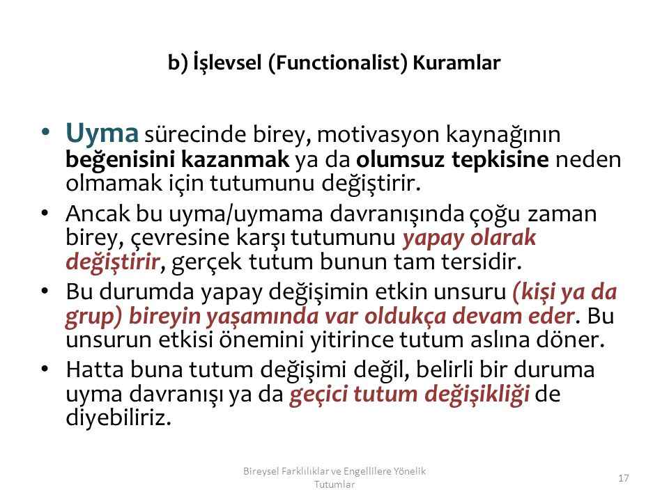 b) İşlevsel (Functionalist) Kuramlar