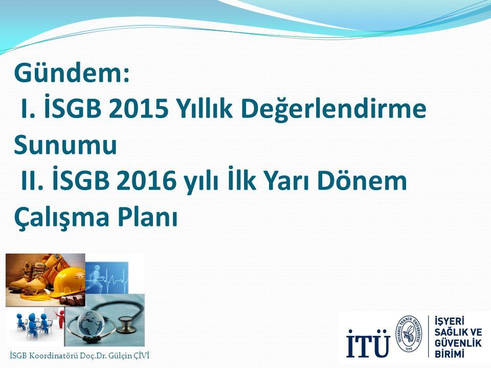 Gündem: I. İSGB 2015 Yıllık Değerlendirme Sunumu II