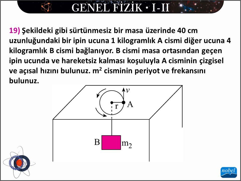 19) Şekildeki gibi sürtünmesiz bir masa üzerinde 40 cm uzunluğundaki bir ipin ucuna 1 kilogramlık A cismi diğer ucuna 4 kilogramlık B cismi bağlanıyor.