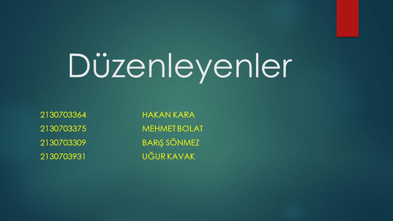 Düzenleyenler 2130703364 Hakan kara 2130703375 Mehmet bolat
