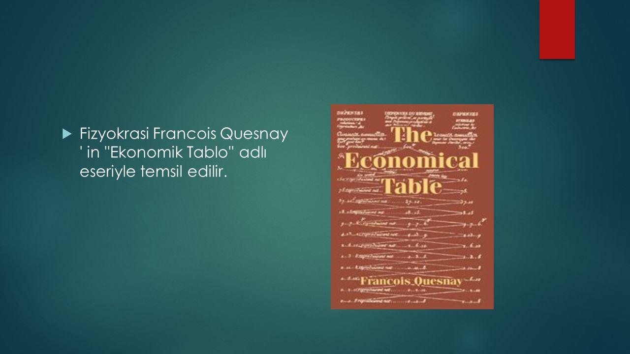 Fizyokrasi Francois Quesnay in Ekonomik Tablo adlı eseriyle temsil edilir.
