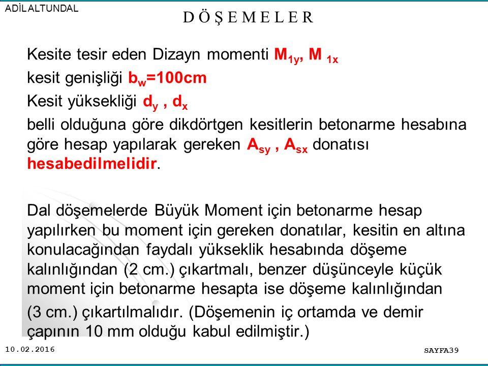 Kesite tesir eden Dizayn momenti M1y, M 1x kesit genişliği bw=100cm