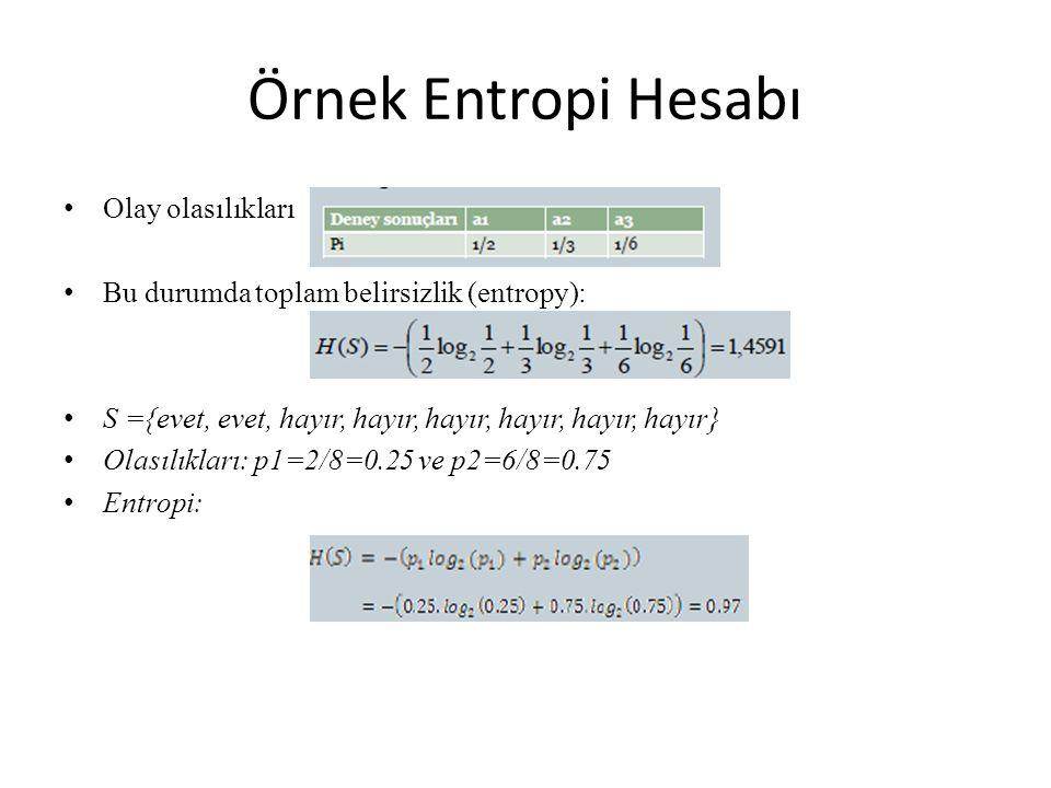 Örnek Entropi Hesabı Olay olasılıkları