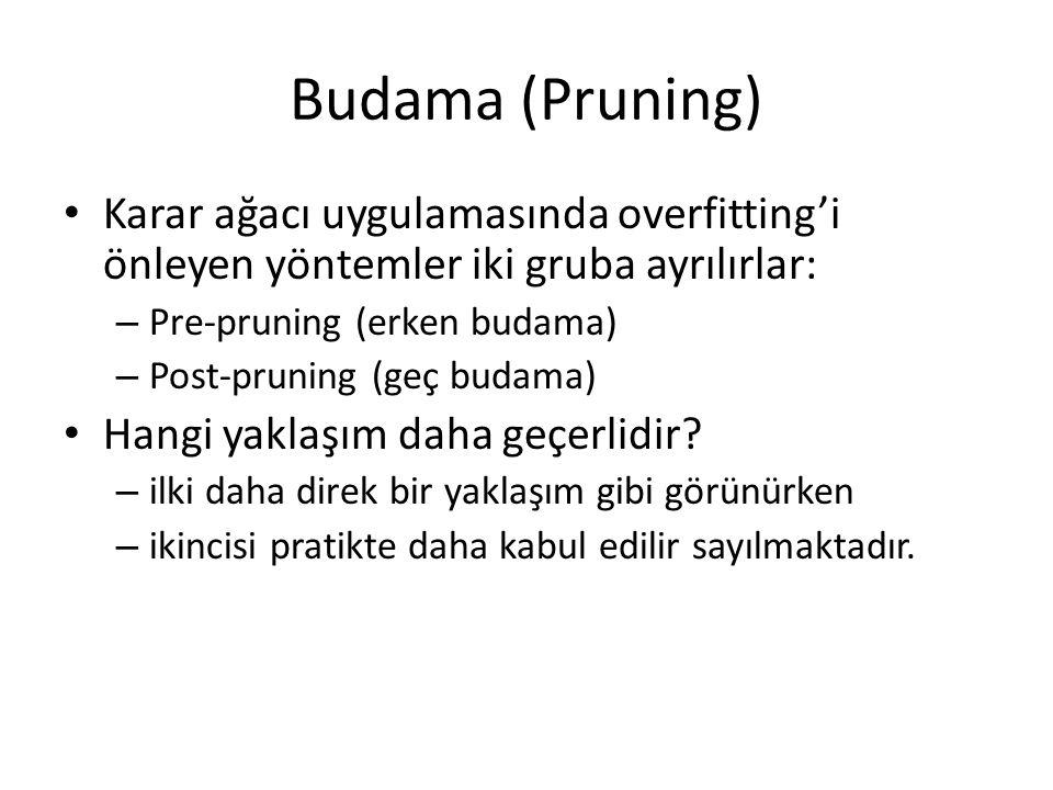 Budama (Pruning) Karar ağacı uygulamasında overfitting'i önleyen yöntemler iki gruba ayrılırlar: Pre-pruning (erken budama)