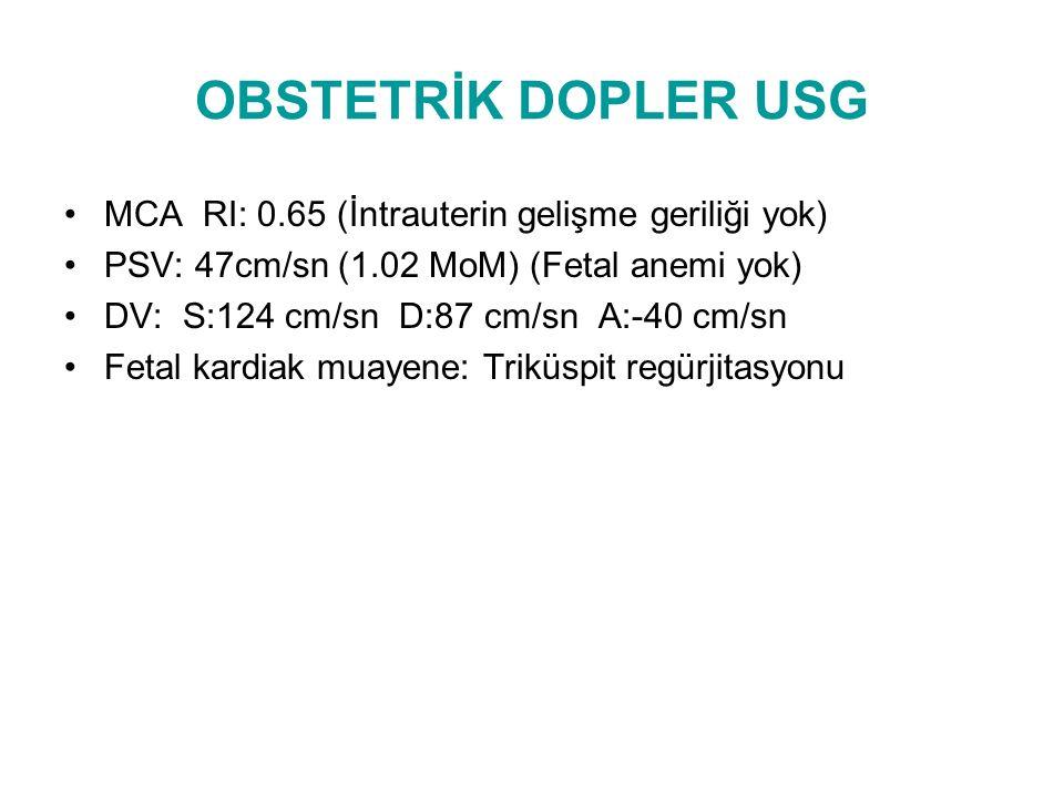 OBSTETRİK DOPLER USG MCA RI: 0.65 (İntrauterin gelişme geriliği yok)