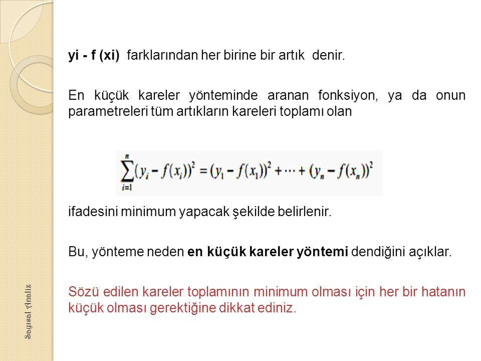 yi - f (xi) farklarından her birine bir artık denir