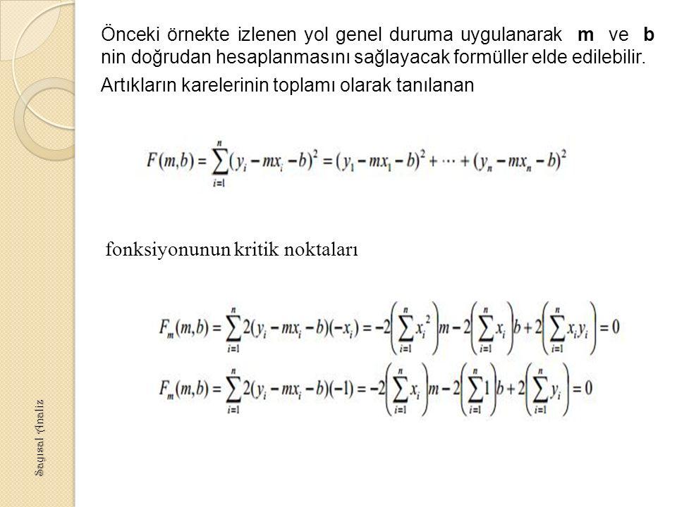fonksiyonunun kritik noktaları