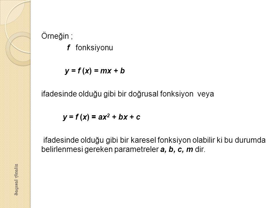 Örneğin ; f fonksiyonu y = f (x) = mx + b ifadesinde olduğu gibi bir doğrusal fonksiyon veya y = f (x) = ax2 + bx + c ifadesinde olduğu gibi bir karesel fonksiyon olabilir ki bu durumda belirlenmesi gereken parametreler a, b, c, m dir.