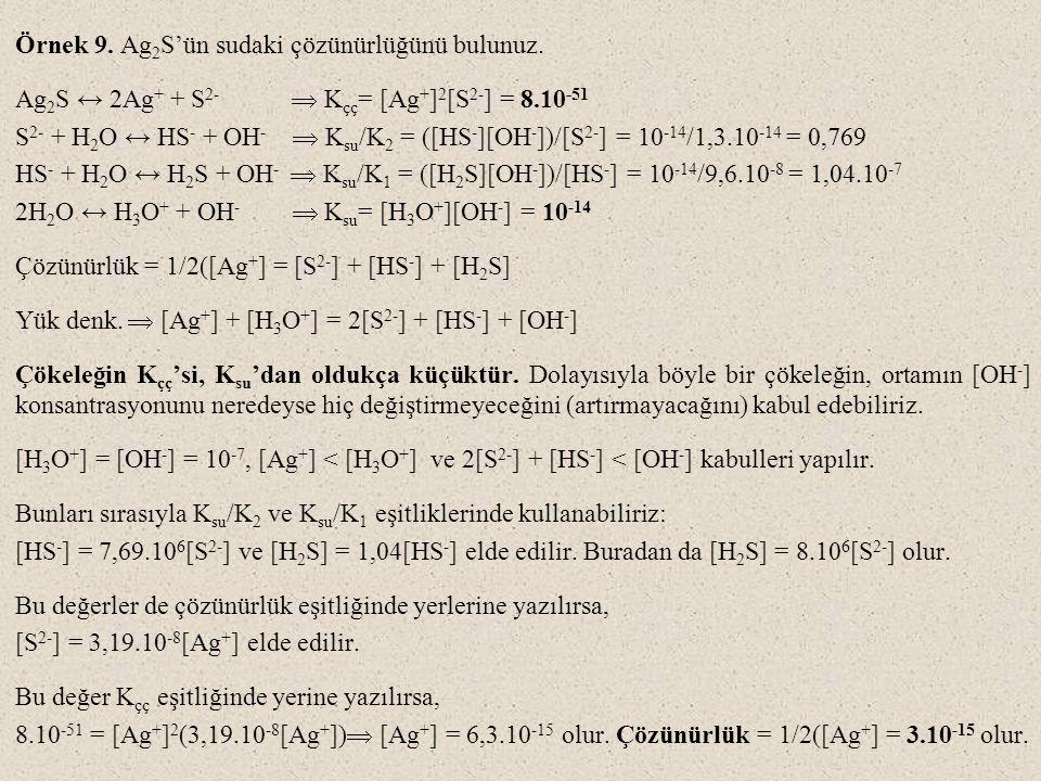 Örnek 9. Ag2S'ün sudaki çözünürlüğünü bulunuz.