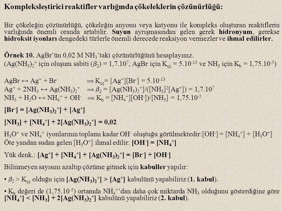 Kompleksleştirici reaktifler varlığında çökeleklerin çözünürlüğü: