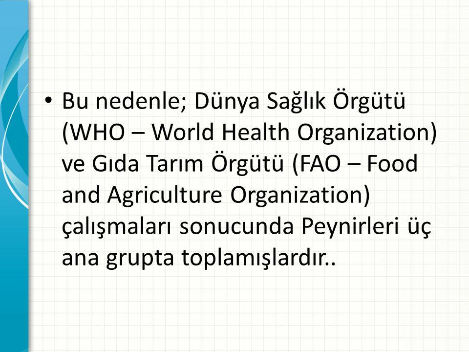 Bu nedenle; Dünya Sağlık Örgütü (WHO – World Health Organization) ve Gıda Tarım Örgütü (FAO – Food and Agriculture Organization) çalışmaları sonucunda Peynirleri üç ana grupta toplamışlardır..