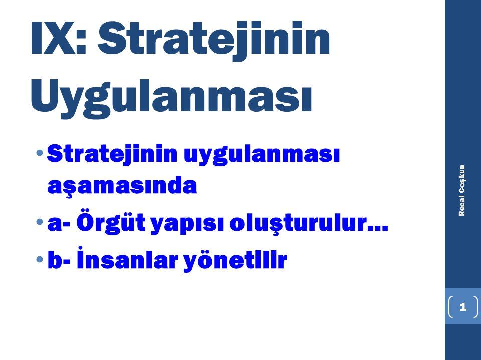 IX: Stratejinin Uygulanması