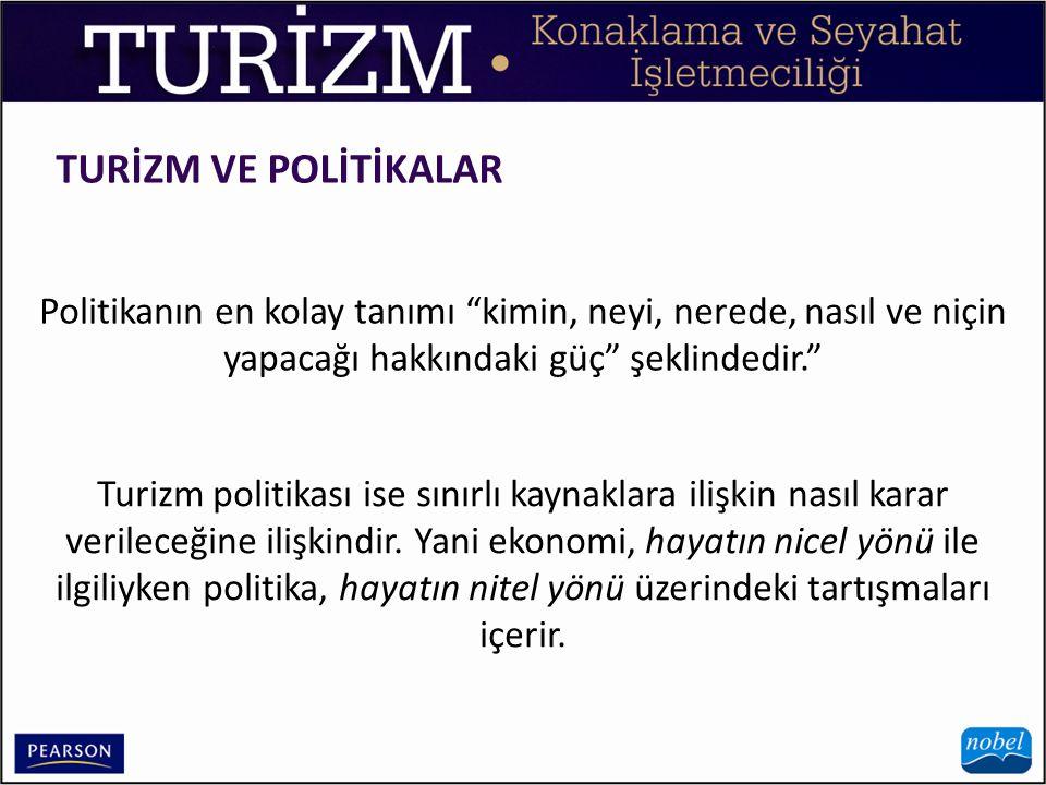 TURİZM VE POLİTİKALAR Politikanın en kolay tanımı kimin, neyi, nerede, nasıl ve niçin yapacağı hakkındaki güç şeklindedir.