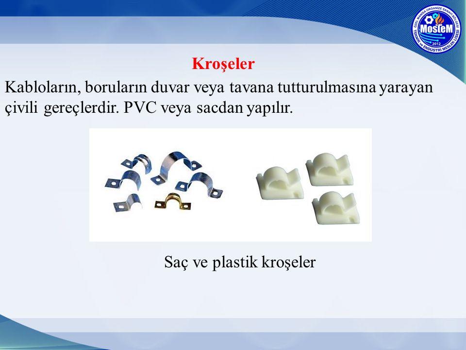 Kroşeler Kabloların, boruların duvar veya tavana tutturulmasına yarayan çivili gereçlerdir. PVC veya sacdan yapılır.