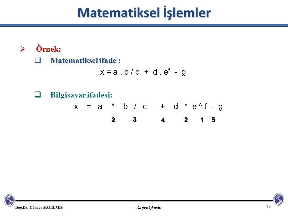 Matematiksel İşlemler