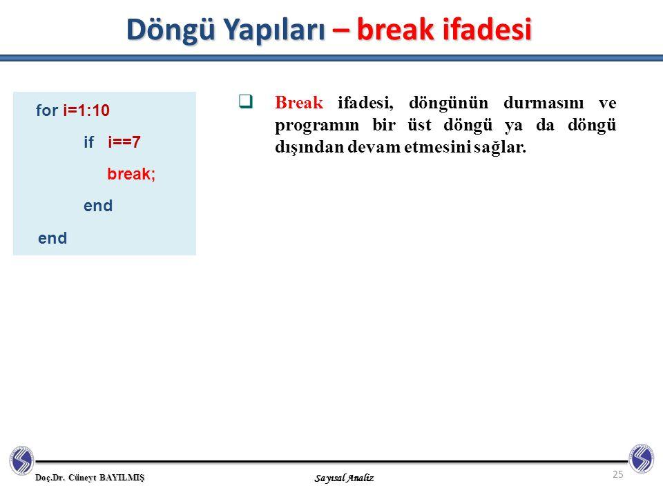 Döngü Yapıları – break ifadesi