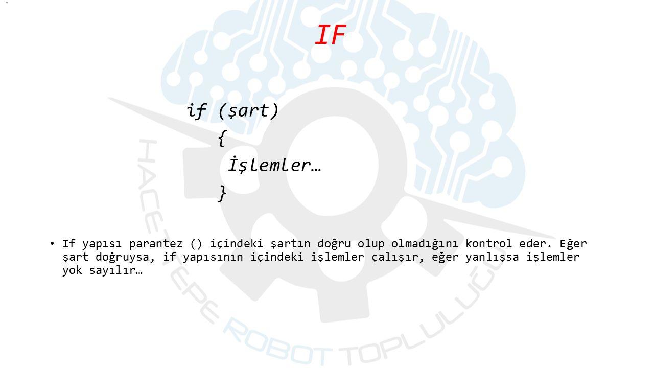 IF if (şart) { İşlemler… }