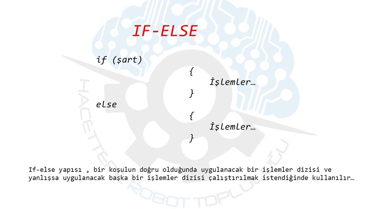 IF-ELSE if (şart) { İşlemler… } else