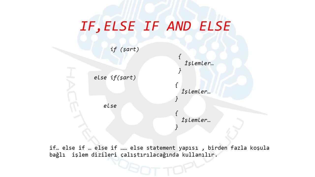 IF,ELSE IF AND ELSE if (şart) { İşlemler… } else if(şart) else