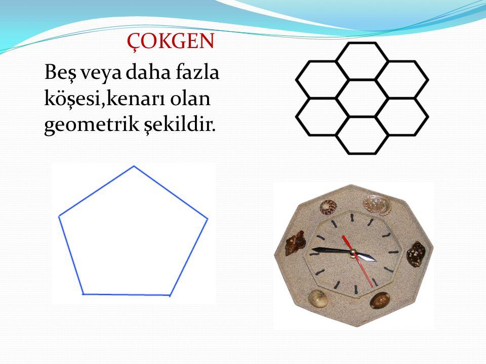 ÇOKGEN Beş veya daha fazla köşesi,kenarı olan geometrik şekildir.