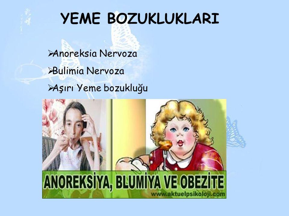 YEME BOZUKLUKLARI Anoreksia Nervoza Bulimia Nervoza