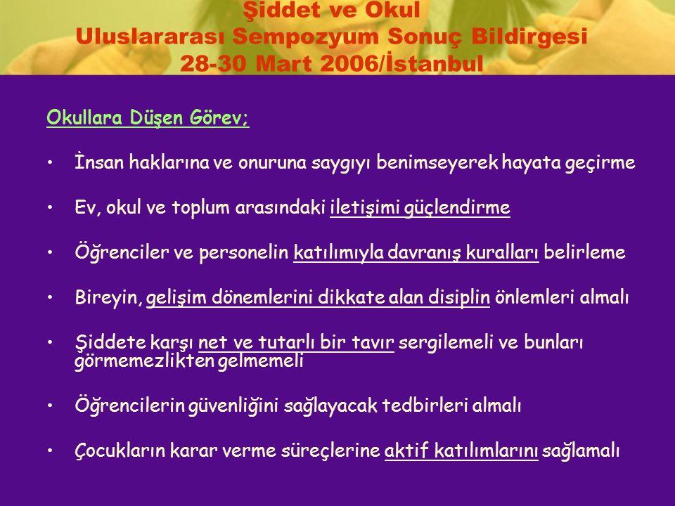 Şiddet ve Okul Uluslararası Sempozyum Sonuç Bildirgesi 28-30 Mart 2006/İstanbul