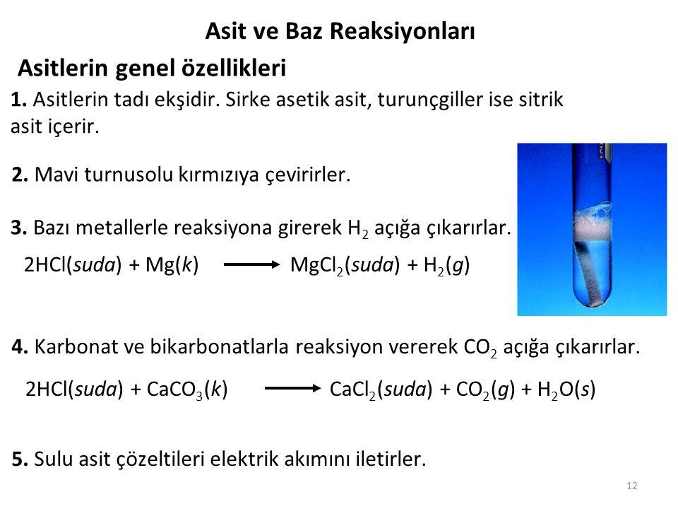 Asit ve Baz Reaksiyonları