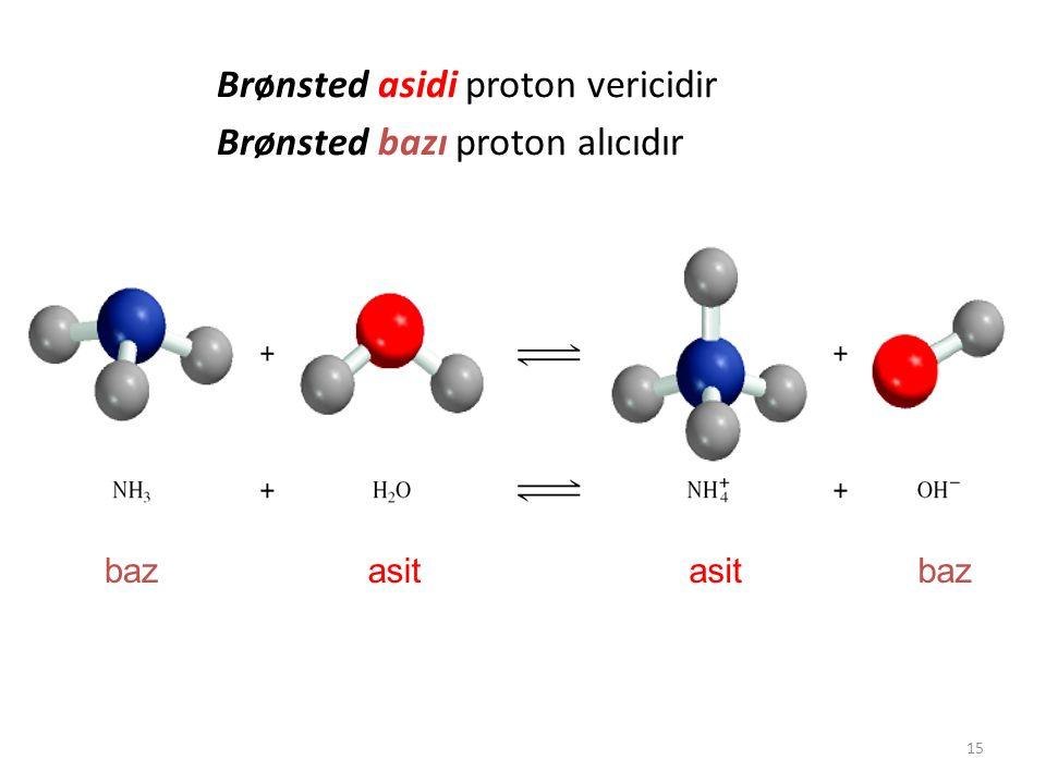 Brønsted asidi proton vericidir Brønsted bazı proton alıcıdır