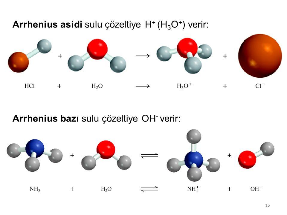 Arrhenius asidi sulu çözeltiye H+ (H3O+) verir:
