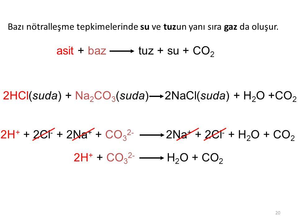 2HCl(suda) + Na2CO3(suda) 2NaCl(suda) + H2O +CO2