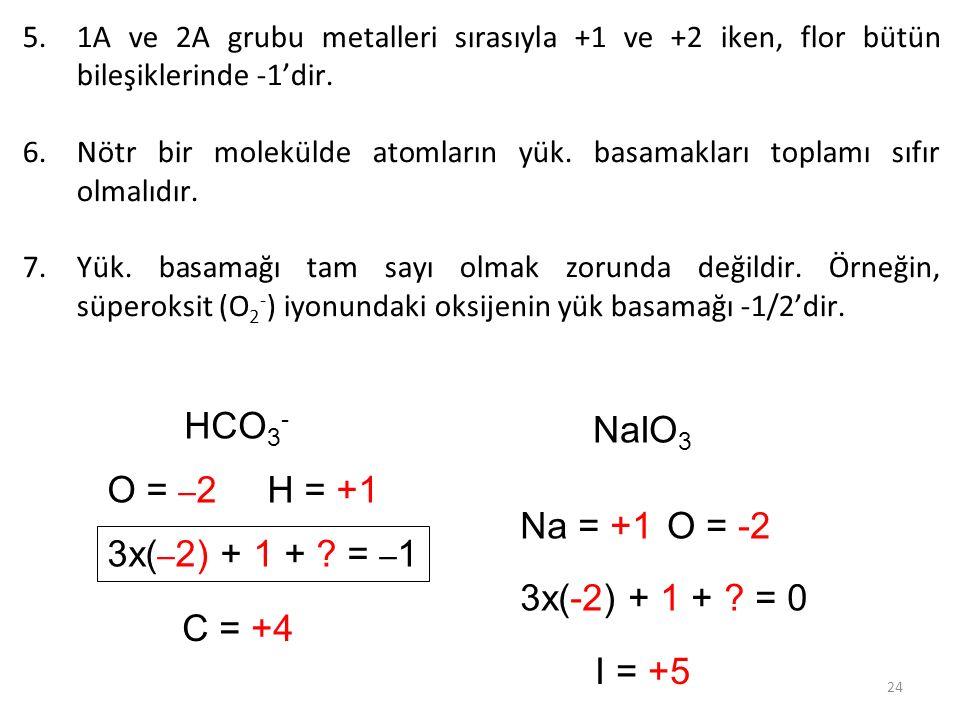 HCO3- NaIO3 O = –2 H = +1 Na = +1 O = -2 3x(–2) + 1 + = –1