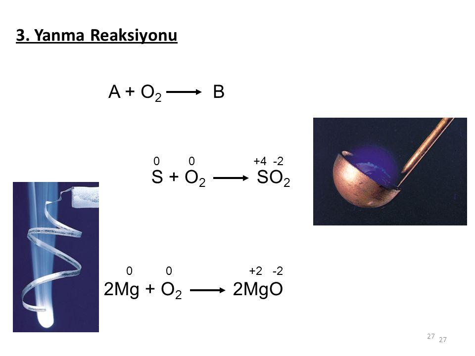 3. Yanma Reaksiyonu A + O2 B +4 -2 S + O2 SO2 +2 -2 2Mg + O2 2MgO 27
