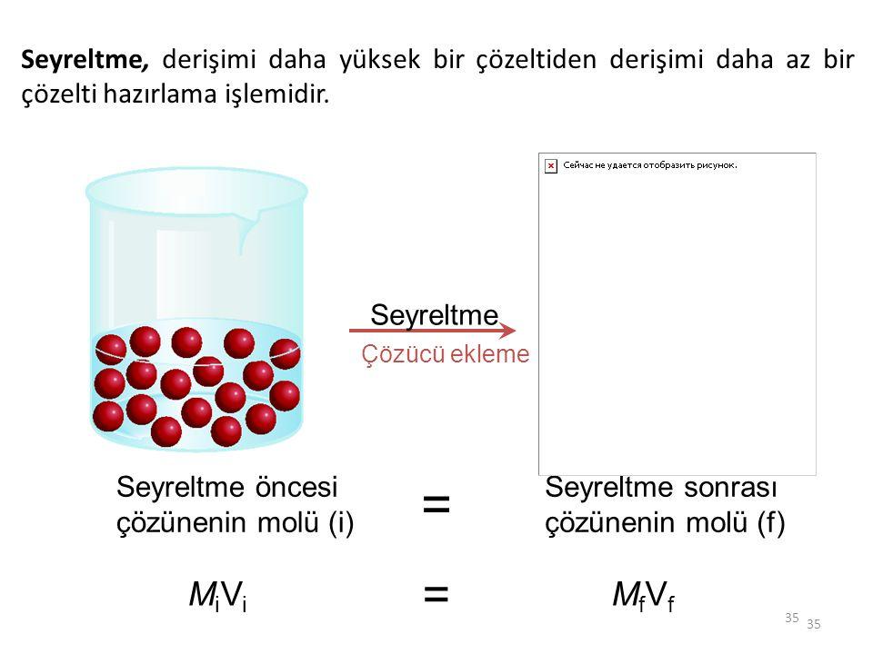 Seyreltme, derişimi daha yüksek bir çözeltiden derişimi daha az bir çözelti hazırlama işlemidir.