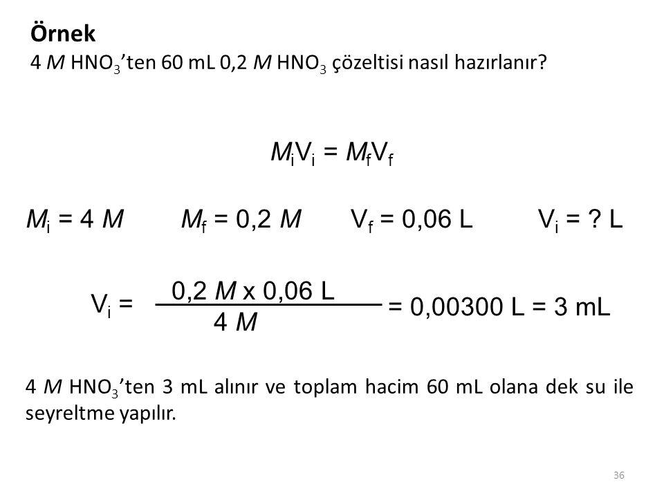Örnek MiVi = MfVf Mi = 4 M Mf = 0,2 M Vf = 0,06 L Vi = L