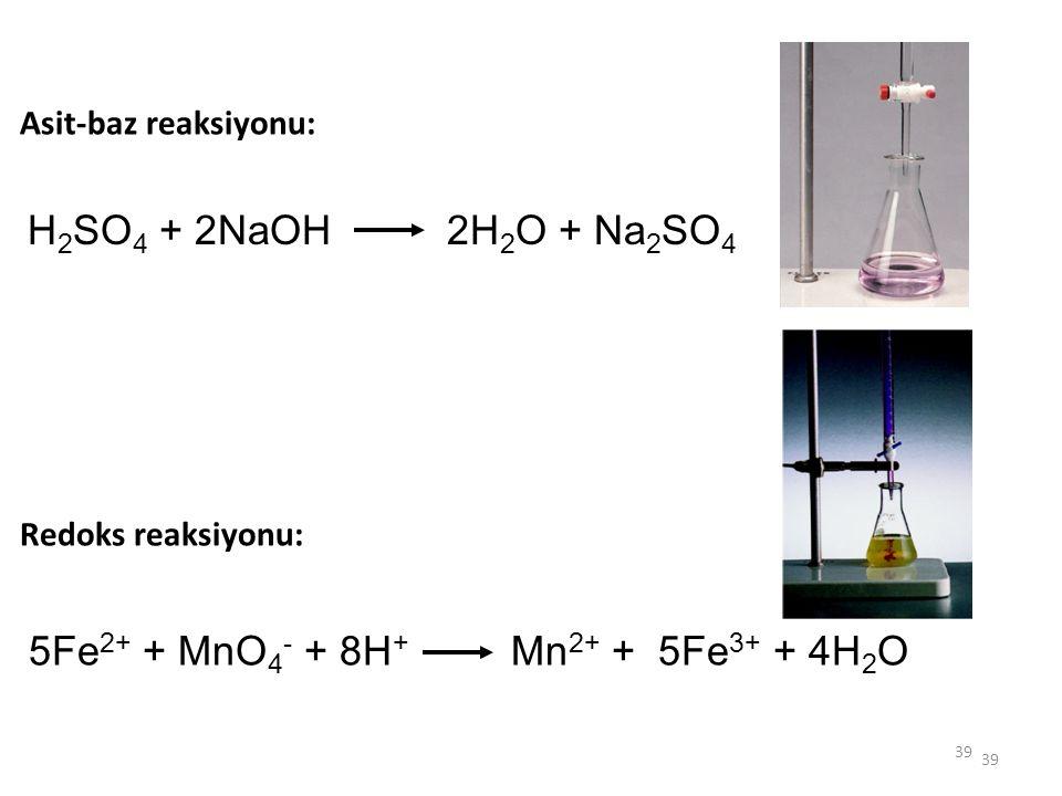 5Fe2+ + MnO4- + 8H+ Mn2+ + 5Fe3+ + 4H2O
