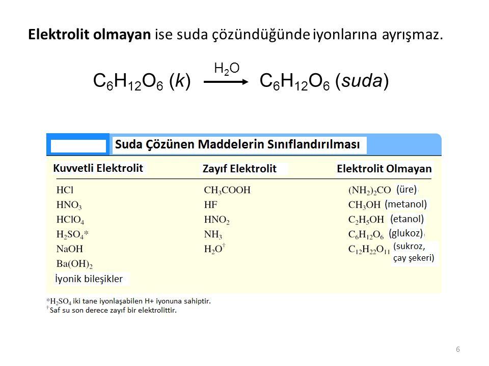 Elektrolit olmayan ise suda çözündüğünde iyonlarına ayrışmaz.